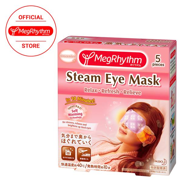 [No.1 sales in Japan]Kao MegRhythm Steam Eye Mask Unscented 5Pcs