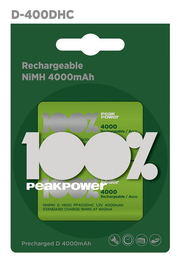 100%PeakPower Rechargeable Battery 2s 4000mAh D