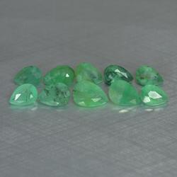 10pcs natural medium green Zambian Emerald pear facet - 3.03CT - ER74