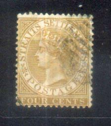 1883 Malaya Straits Settlements QV Watermarks Crown CA. 4c Brown