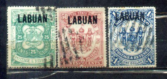 1895 Labuan Old Stamps 25c to $1. Complete Set. CV Rm 460
