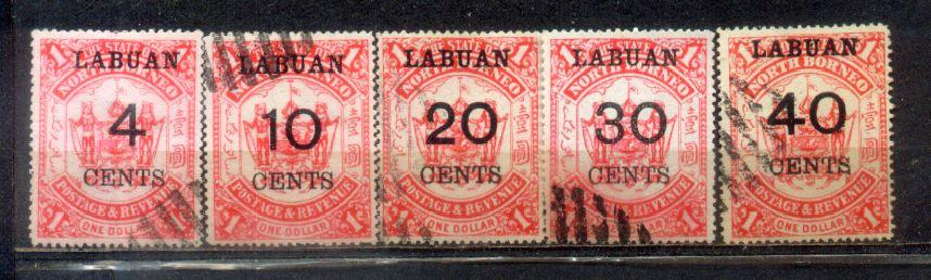 1895 Labuan Old Stamps 4c to 40c. Complete Set. CV Rm 330