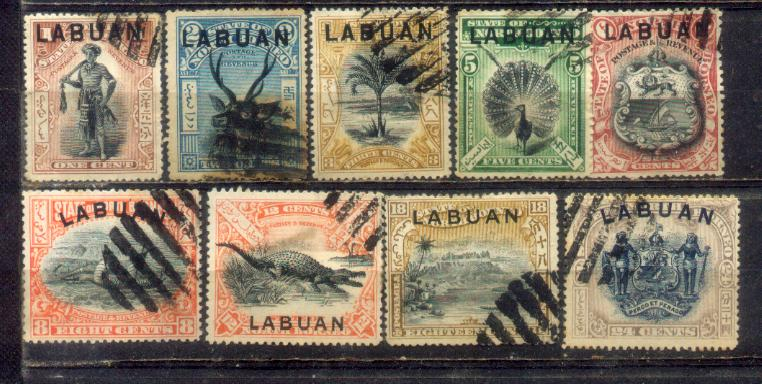1897-1901 Labuan Old Stamps 1c to 24c. Complete Set. CV Rm 1000