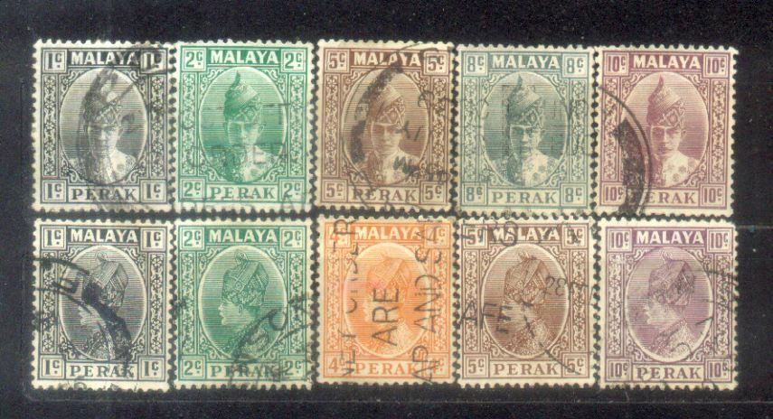 1935-41 Malaya Malaysia Perak 10 Old Stamps