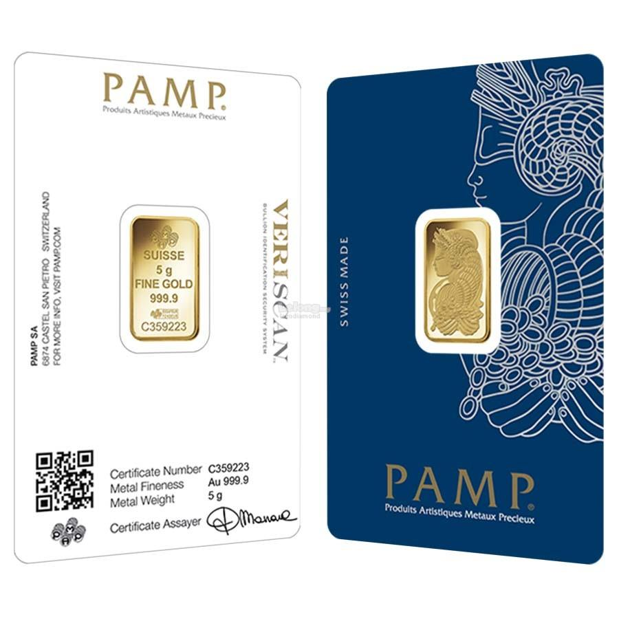 [5 gram] Gold Bar PAMP Suisse Lady Fortuna Veriscan 999.9 Fine Gold [I