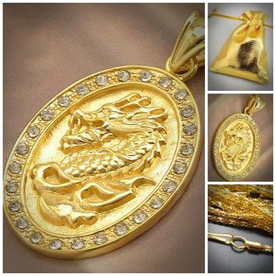 ABPGM-D004 So Cool 9K Gold Filled Flawless CZ Men's Dragon Pendant