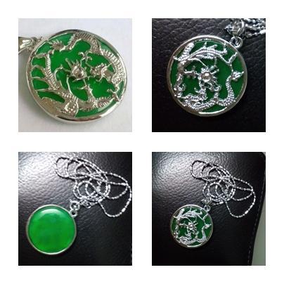 ABPJ-D032 Green Jade Dragon N Phoenix Jewellery Necklace - 27x27x6mm