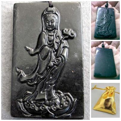 ABPJ-K003 Dark Jade Kuanyin Buddhist Pendant Amulet String Necklace-30..