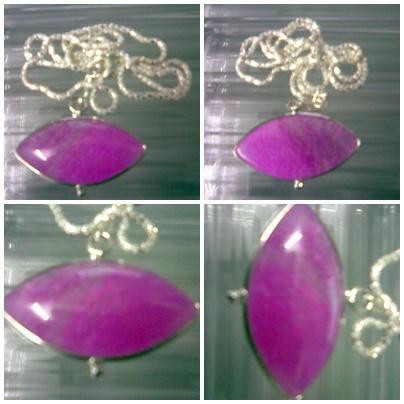 ABPJ-P012 Pink Purple Dragon Veins Agate Pendant Silver Necklace