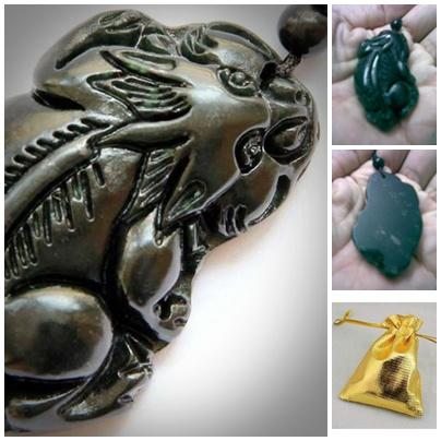 ABPJ-U001 Dark Jade Carved Unicorn Pendant Amulet String Necklace - 32..