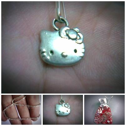 ABPSM-C012 Silver Metal Cat Hello Kitty Face Head Pendant Necklace - 1..