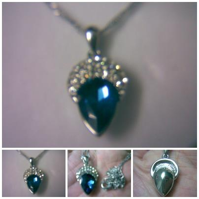 ABPSM-C020 Cute Deep Blue White Crystal Shiny CedarNut Silver Necklace