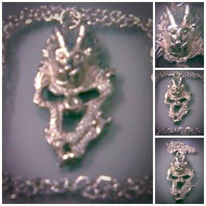ABPSM-D024 Silver Metal Dragon Pendant Necklace 60x30mm 45cm.