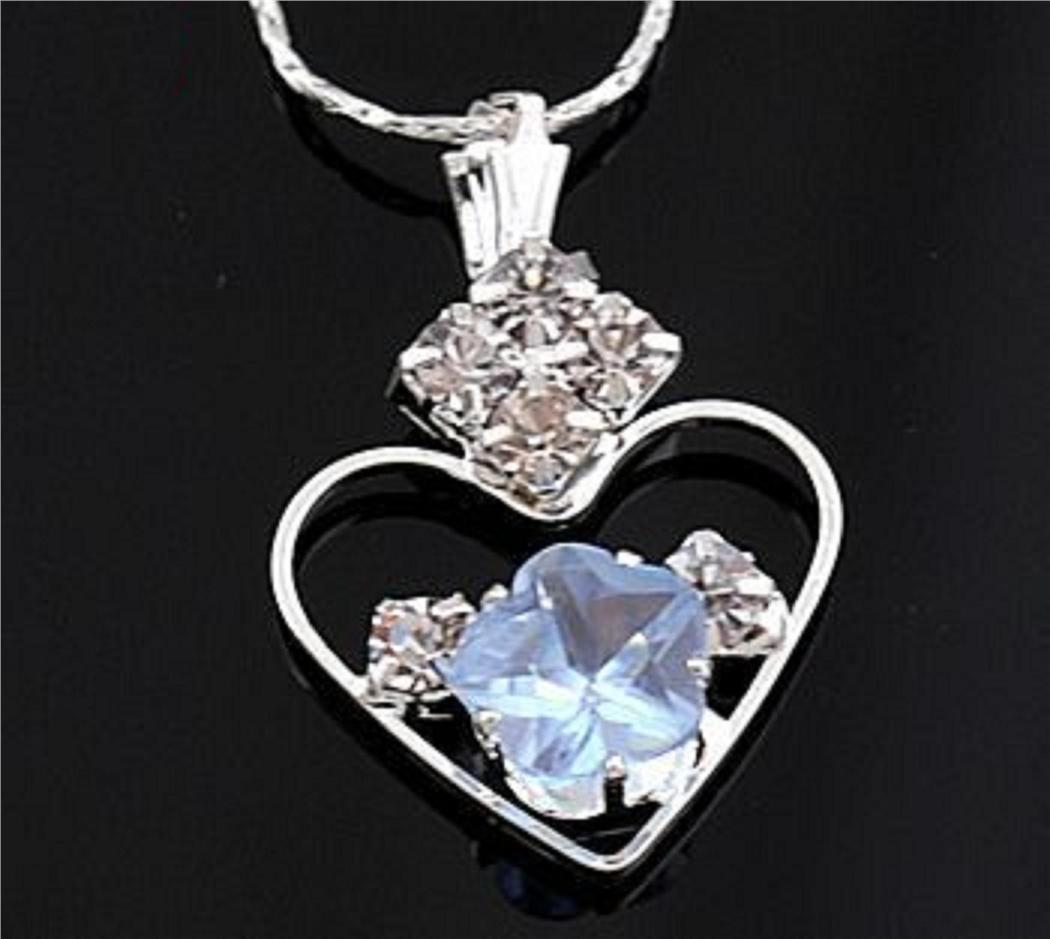 ABPSM-H007 Style Nice Blue Crystal Heart Love Charm Pendant Necklace