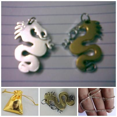 ABPSS-D010 Stainless Steel Silver Yellow Gold 3D Dragon Charms Pendant..