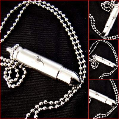 ABPSS-S001 The Beautiful Scorpion Bullet Stainless Steel Necklace Pend..
