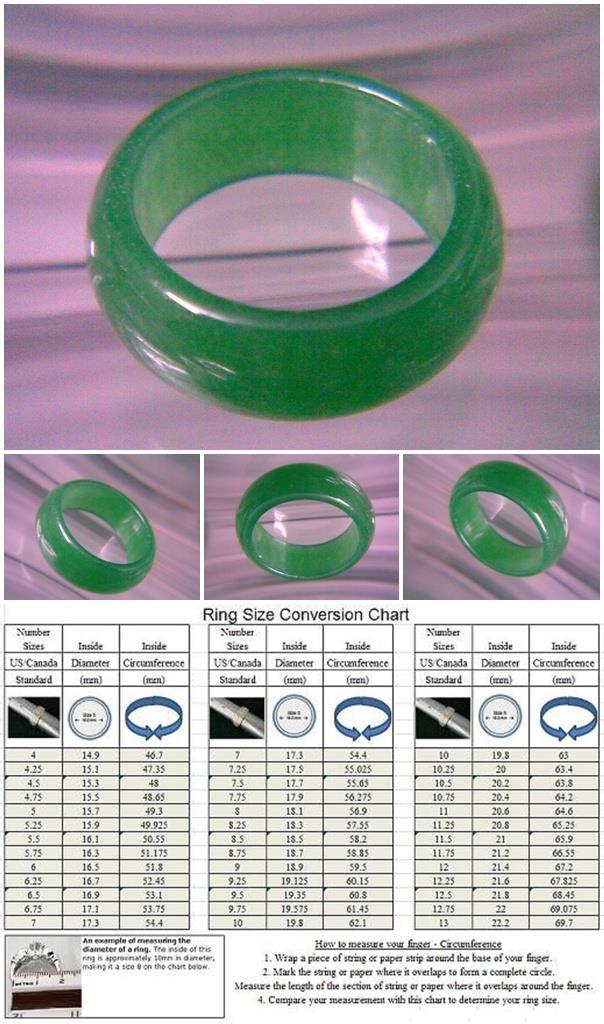 ABRJ-G001 Green Jade Ring - Size 7.75 - 6mm width