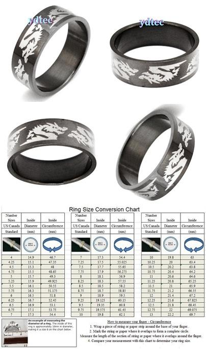 ABRSS-D004 Dragon-6 Black Stainless 316L Steel Ring - Size 8~12.5
