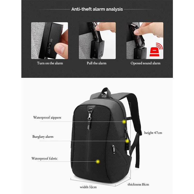 Arctic Hunter Men's Laptop Backpack Smart Alarm Feature i-Future (15.6