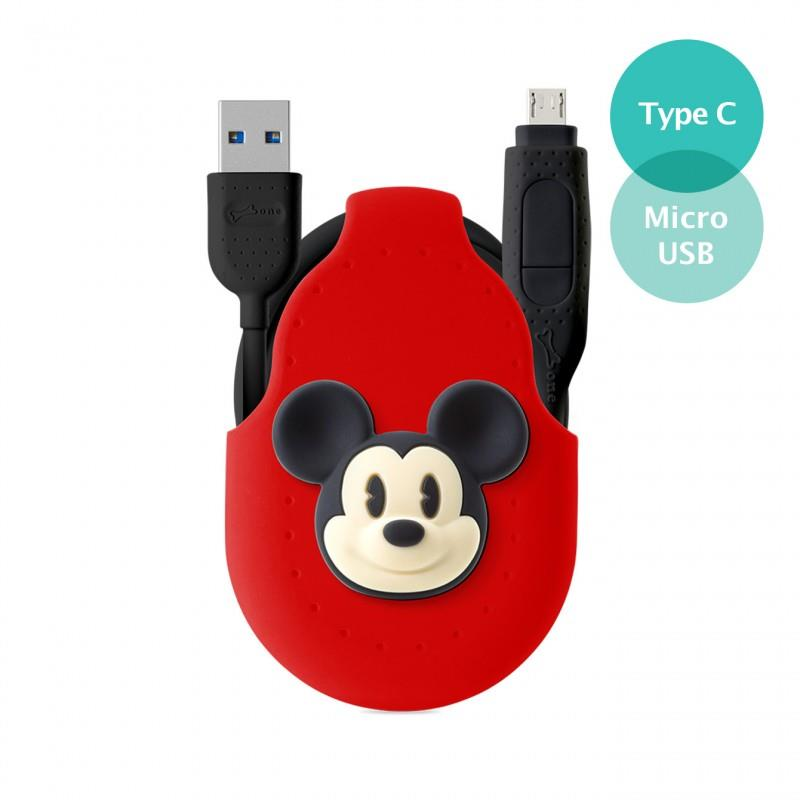 Bone Collection USB-C + MicroUSB 2-in-1 Cable - Mickey Mouse