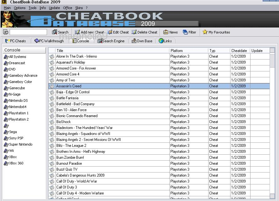 CHEATCODE DATABASE for PC,Sony Playstation 1,2,3,PSP,Nintendo,Wii,Xbox