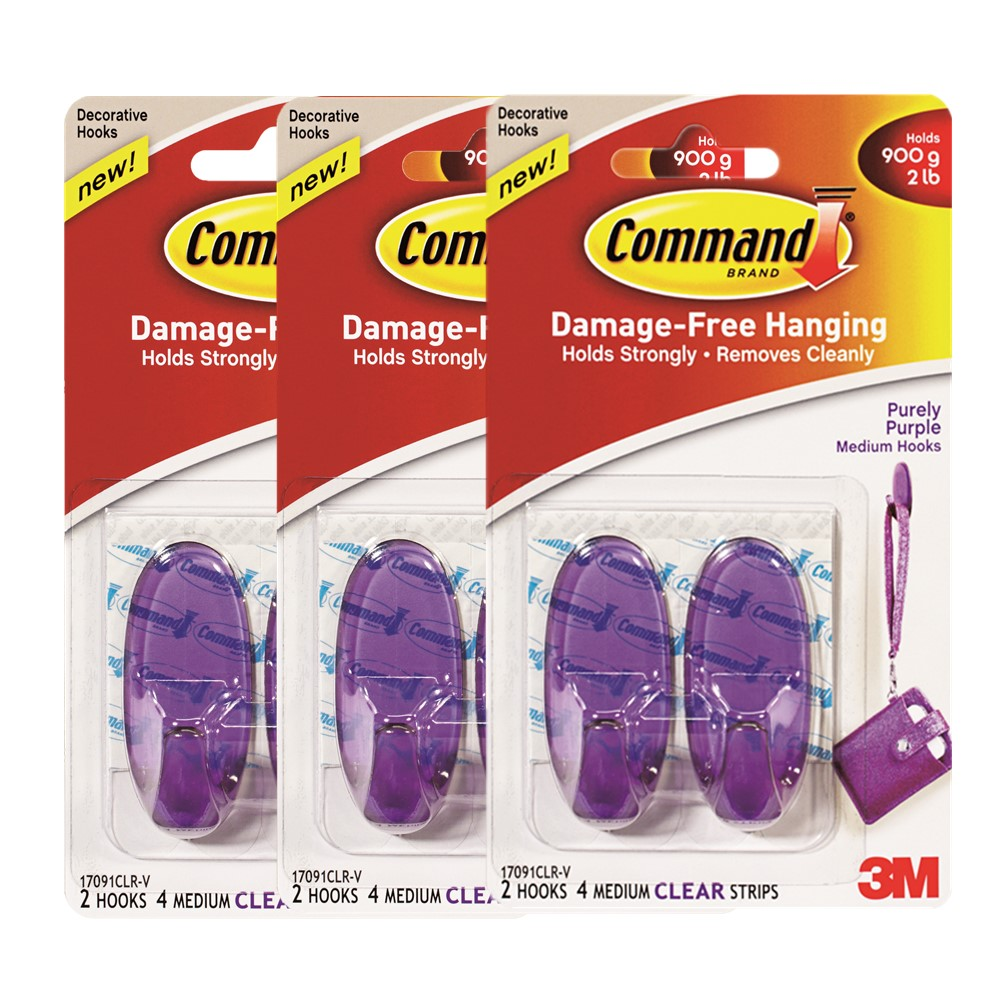 Command Perfectly Purple Clear Hooks (Buy 3 @ RM10.49)