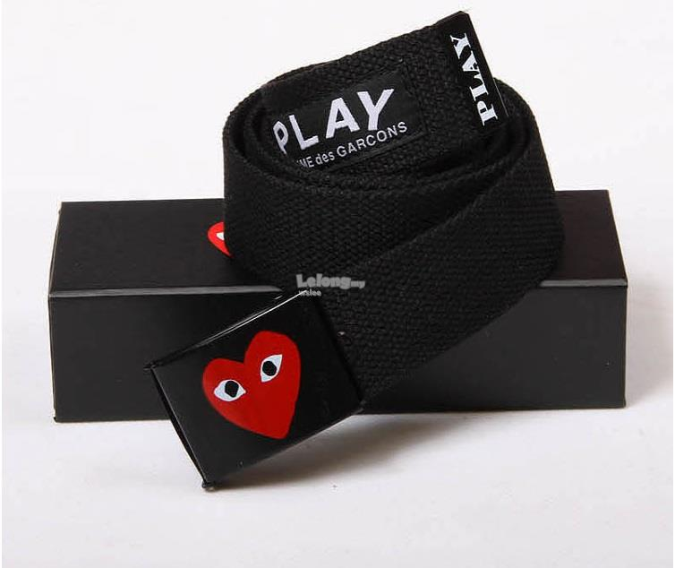 COMME DES GARCONS PLAY CANVAS BELT - BLACK COLOUR