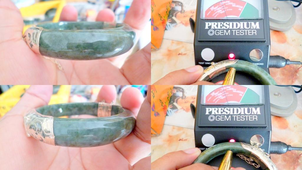 DEEP GREEN NEPHRITE BURMESE JADE  BANGLE ADJTBLE