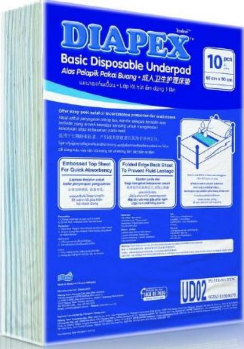 Diapex Basic Disposable Underpad 10 pcs ( Size 60 x 90 cm) x 6 pkts