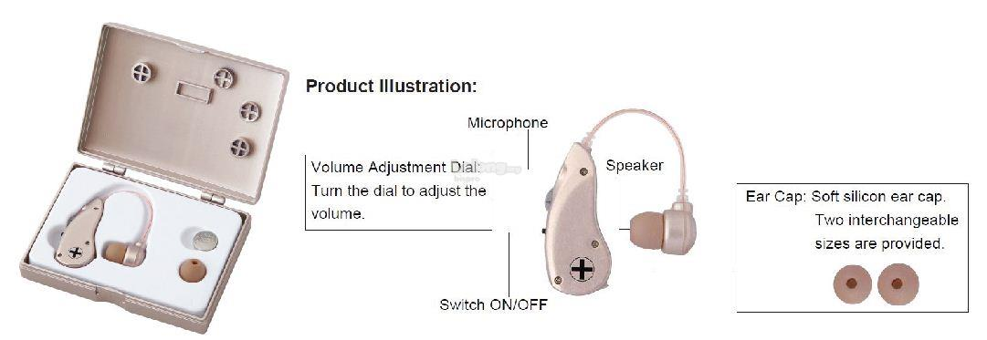 Digital Behind Ear Hearing Aids Machine Devices Sound Voice Amplifier