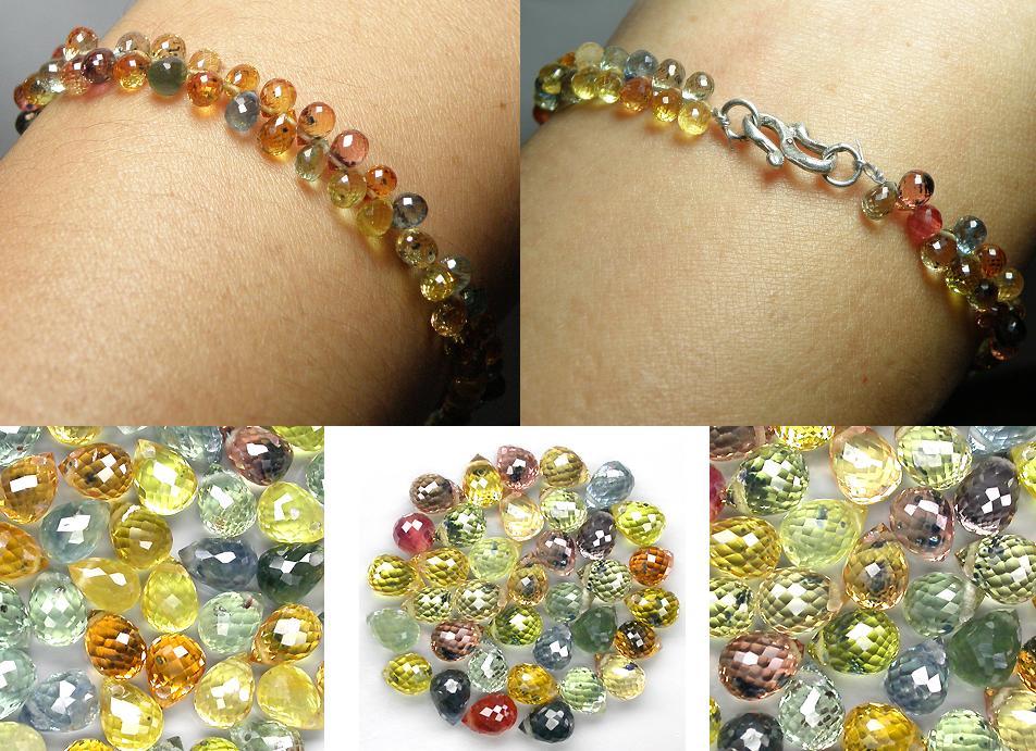 Elegance fancy colour Sapphire briolette cut lady bracelet - 33.3CT