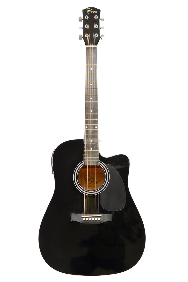 Evo Guitar Quality Package with pickup and build in tuner (Black)