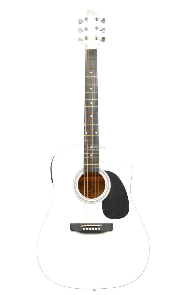 Evo Guitar Quality Package with pickup and build in tuner (White)