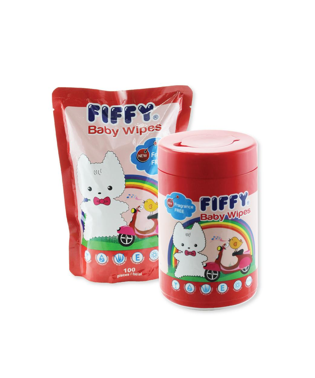 FIFFY BABY WIPES FRAGRANCE FREE ( 1 CAN + 1 REFILL) - A98504