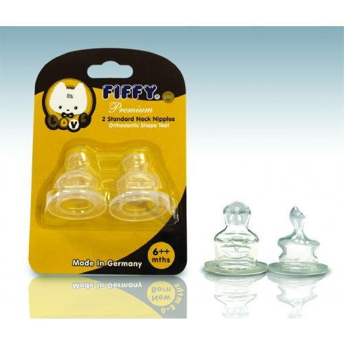 FIFFY SILICONE TEATS c/w ANTI-COLIC VENT (6 ++months) - A18129