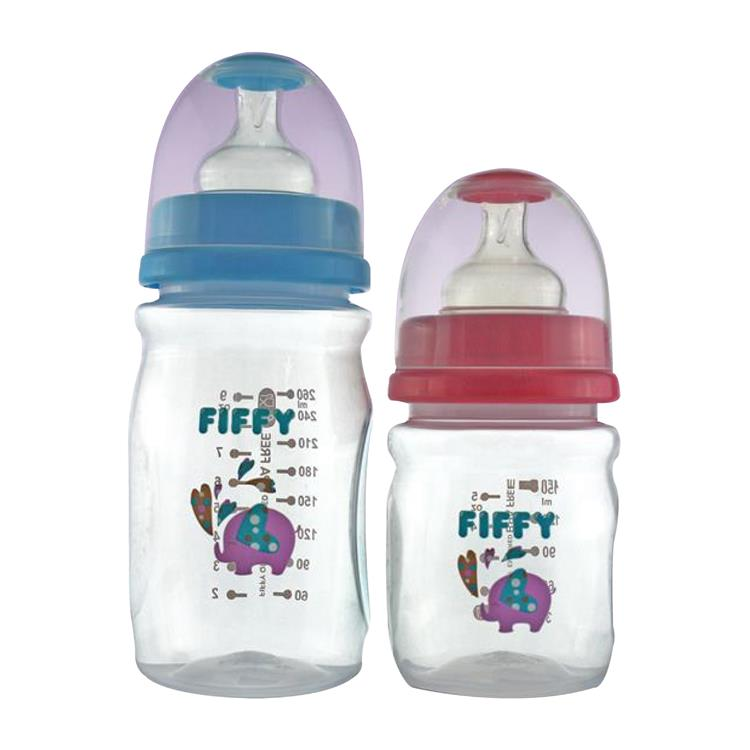 Fiffy Wide Neck Baby Feeding Bottle Twin Pack (9 oz  & 5oz) - A98296