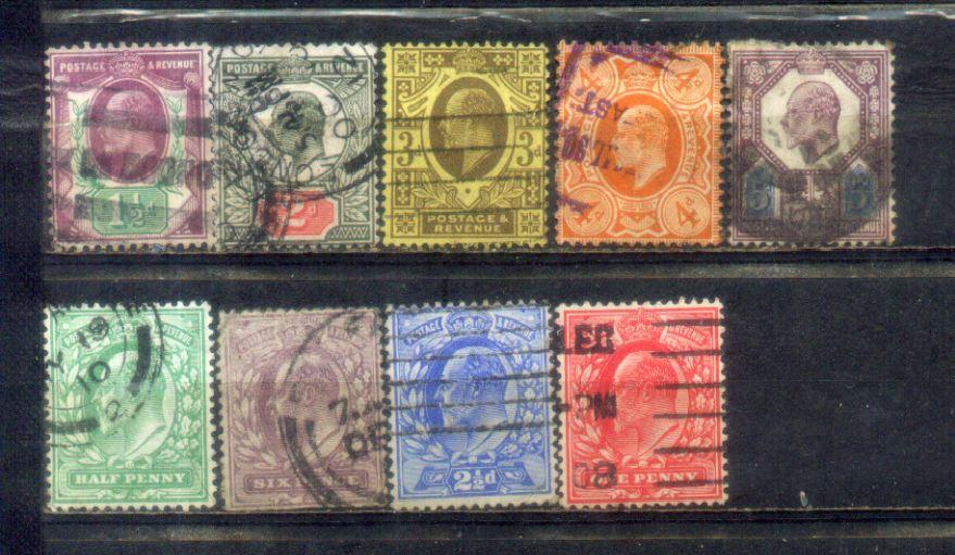 GB Great Britain 1902-11 EDVII 9 Stamps