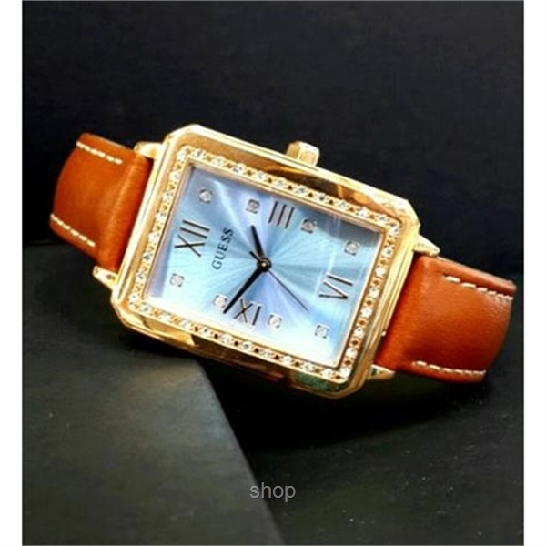 Guess W0841L2 Women Tribeca Brown Leather Strap Watch