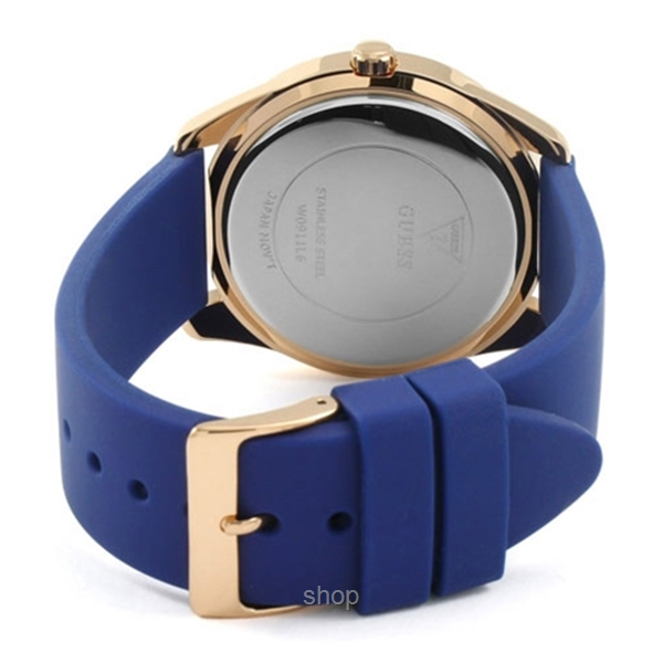 wholesale dealer first look on feet at Guess W0911L6 Women G Twist Blue Silicone Strap Watch