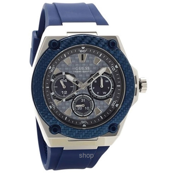 buying cheap differently 50% price Guess W1049G1 Men Legacy Multifunction Blue Silicone Strap Watch