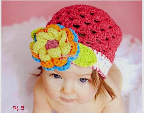 (KH08-S) New Top Baby Precious Knit BB Hat - Red Color