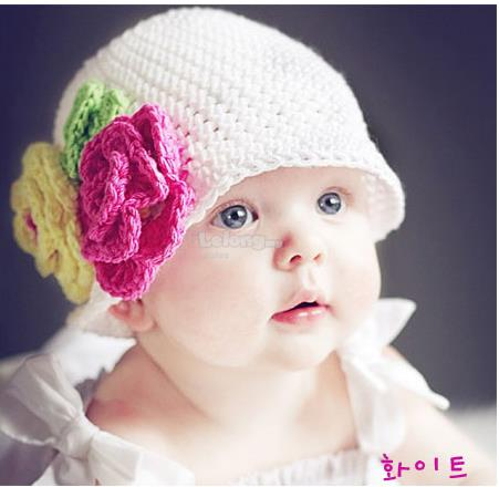(KH11-M) New Top Baby Precious Knit BB Hat - White Color