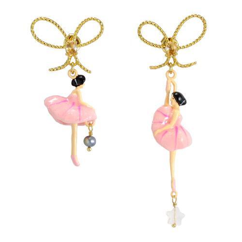 Les Nereides Asymmetrical Ballerinas Earrings