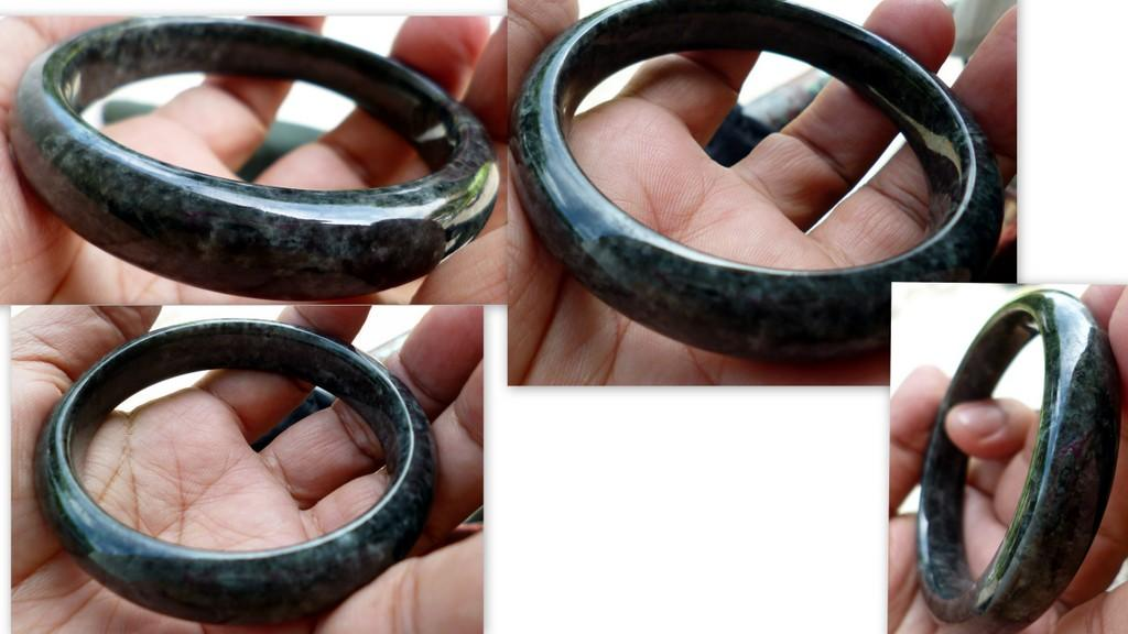 LOVELY OLD  MINE  DARK  GREEN JADE  BANGLE