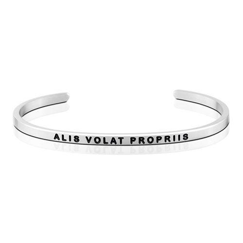 MantraBand Alis Volat Propriis Silver Bracelet