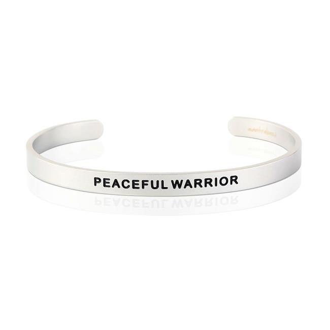 MantraBand Peaceful Warrior Silver Bracelet (For Man)