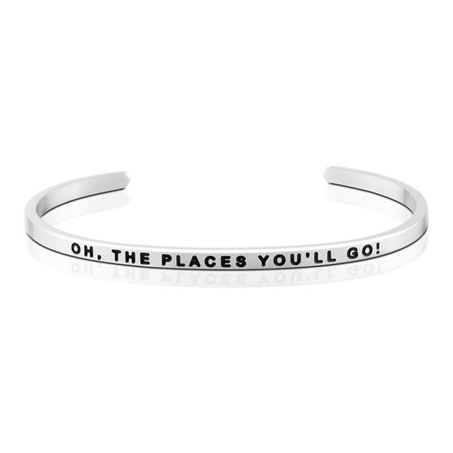 MantraBand Oh,The Places You'll Go Silver Bracelet