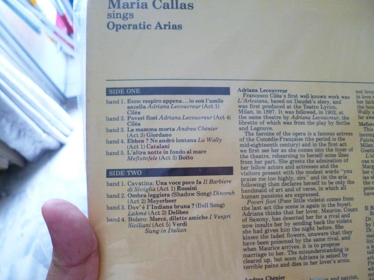 MARIA  CALLAS OPERATIC  ARIAS  VINYL  RECORD