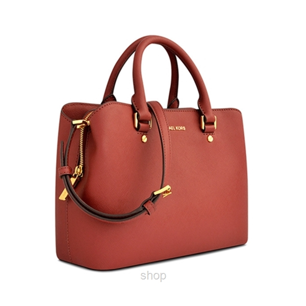 Michael Kors Savannah Medium Saffiano Leather Satchel Bag In Brick