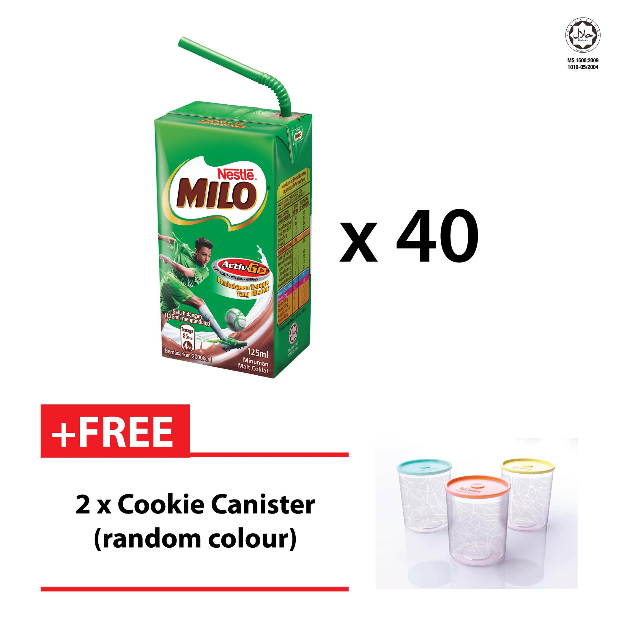 c1412df76b0 MILO UHT 125ML, 1 CARTON (40 UNITS) FREE 2 COOKIE CANISTER (SPECIAL OF